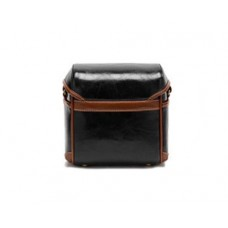 Vintage Style Leather Shoulder Bag for DSLR Camera - Black