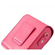 Simple PU Leather Shoulder Bag for Mirrorless Camera - Magenta