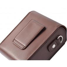 Simple PU Leather Shoulder Bag for Mirrorless Camera - Deep Brown