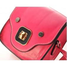 Exotic PU Leather Shoulder Bag for Women - Magenta