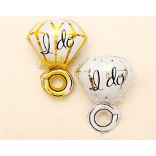 2 Pcs 18'' I Do Diamond Ring Mylar Balloon - Gold Silver