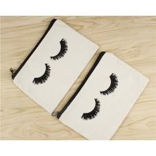 Canvas Makeup Bag 10 Pcs Eyelash Pattern Travel Cosmetic Bags with Zipper