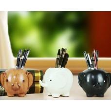 Elephant Shape Desk Pencil Holder - Black