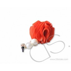 Dangling Flower Crystal Headphone Jack Plug - Red