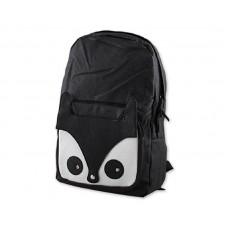 Cute Fox Cartoon PU Leather Casual Backpack - Black