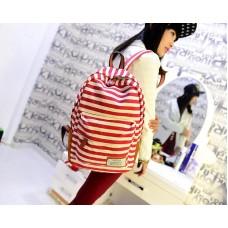 Stripe Print Korean Style Canvas Rucksack - Red