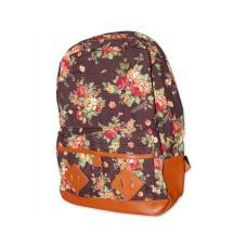 Floral Print Canvas Backpack - Deep Brown