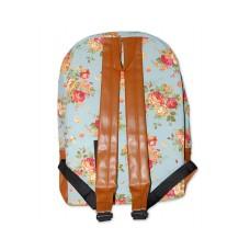 Floral Print Canvas Backpack - Blue