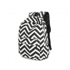 Stripe Print Casual Canvas Backpack - Black