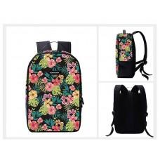 Flower Print Casual Travel Backpack - Black