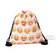 Emoji Drawstring Bag Emoticon Printed Drawstring Backpack