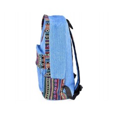 Canvas Bohemian Tribal Rucksack Backpack - Blue