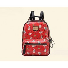 Cute Cartoon PU Leather Backpack with Built-In Handle - Red