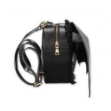Gothic Bat Wings Heart-shaped Lace Backpack - Black