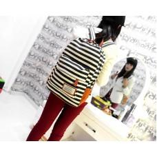 Stripe Print Korean Style Canvas Rucksack - Black