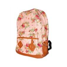 Floral Print Canvas Backpack - Pink