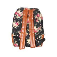 Floral Print Canvas Backpack - Black