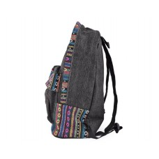 Canvas Bohemian Tribal Rucksack Backpack - Gray