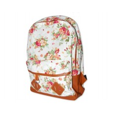 Floral Print Canvas Backpack - White