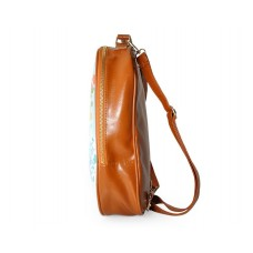 Tree Print PU Leather Casual Backpack - Brown