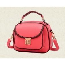 Vintage PU Leather Crossbody Satchel Bag - Red