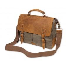 Vintage Canvas Satchel Messenger Bag for Men - Dark Green