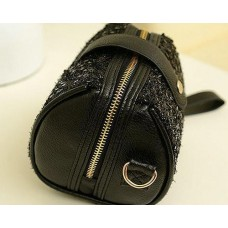 Chic Mini Shoulder Bag with Detatchable Strap - Black Sequin