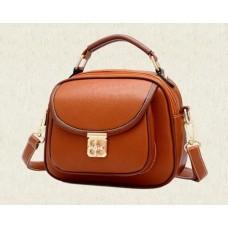 Vintage PU Leather Crossbody Satchel Bag - Brown