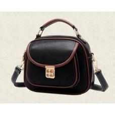 Vintage PU Leather Crossbody Satchel Bag - Black