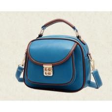 Vintage PU Leather Crossbody Satchel Bag - Blue