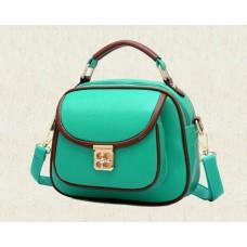 Vintage PU Leather Crossbody Satchel Bag - Green