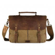 Vintage Canvas Satchel Messenger Bag for Men - Khaki