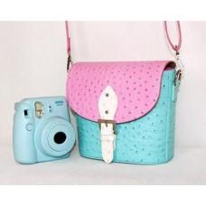 PU Ostrich Leather Multi-way Shoulder Bag - Pink and Light Blue