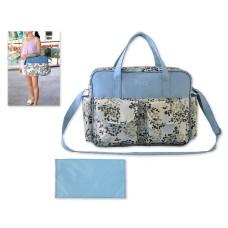 Flower Series Waterproof Mother Nursery Handbag - Blue