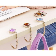 12 Pcs Colorful Folding Section Diamond Handbag Hook