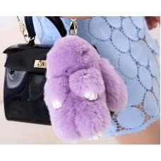 Cute Rex Rabbit Fur Keychain - Purple