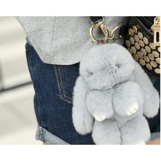 Cute Rex Rabbit Fur Keychain - Gray