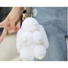 Cute Rex Rabbit Fur Keychain - White