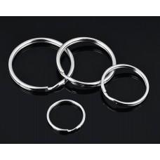 Round Split Key Chain Rings Set of 40 - Silver