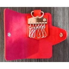 Portable PU Leather Snap Button Closure Key Case - Magenta