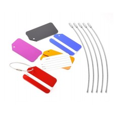 5 Pcs Colorful Metal Travel Luggage Tag with Strap