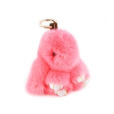 Cute Rex Rabbit Fur Keychain - Pink