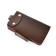 Portable PU Leather Snap Button Closure Key Case - Brown